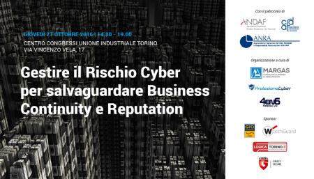 A convegno con Margas: Cyber risk, Business Continuity e Reputation | Torino 27 Ottobre 2016