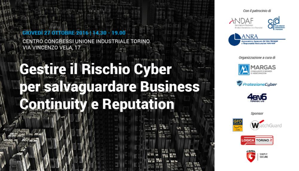 Business Continuity, Reputation e Cyber risk a Convegno  | Torino 27 Ottobre 2016